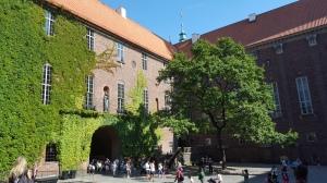Il cortile interno del municipio, dove poter riposare all'ombra di un grande albero